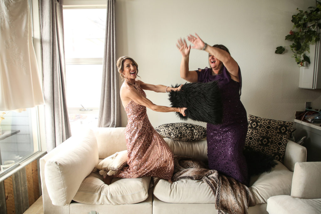 pillow fight with moms