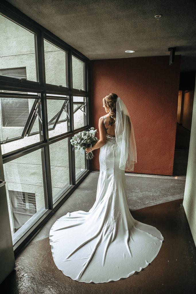 bridal dress in window light