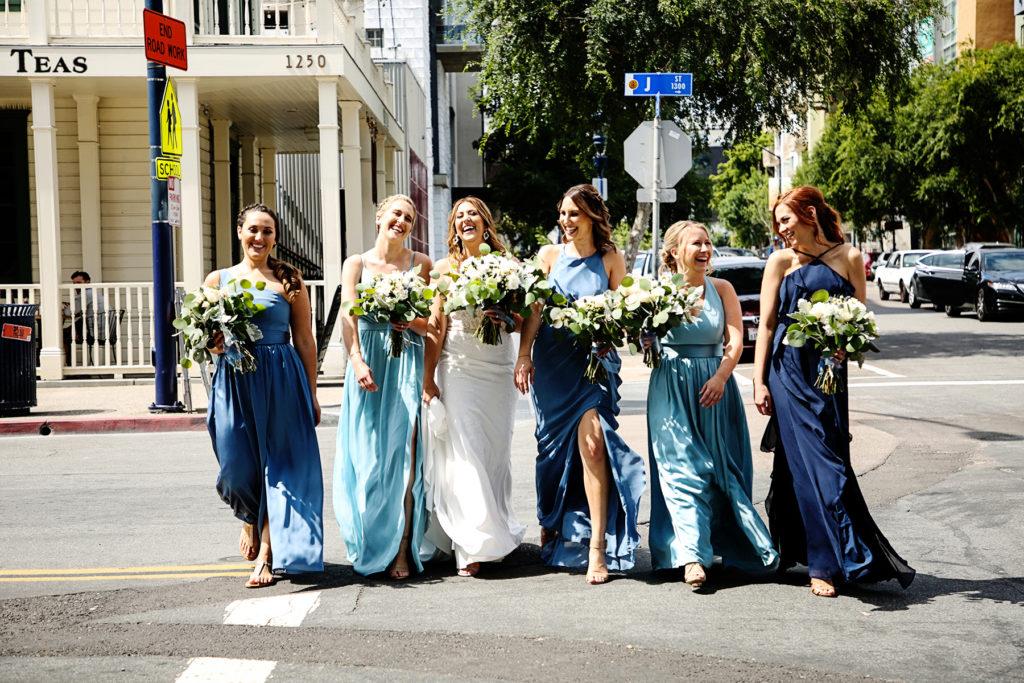 Bridesmaids having fun downtown